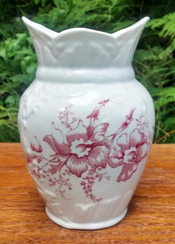 Antique Toothbrush Holder Red Floral Aesthetic Transfer Late 1800s