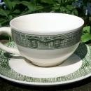 Vintage Scio Currier & Ives Cup & Saucer Pair Green Pictorial Ca. 1964