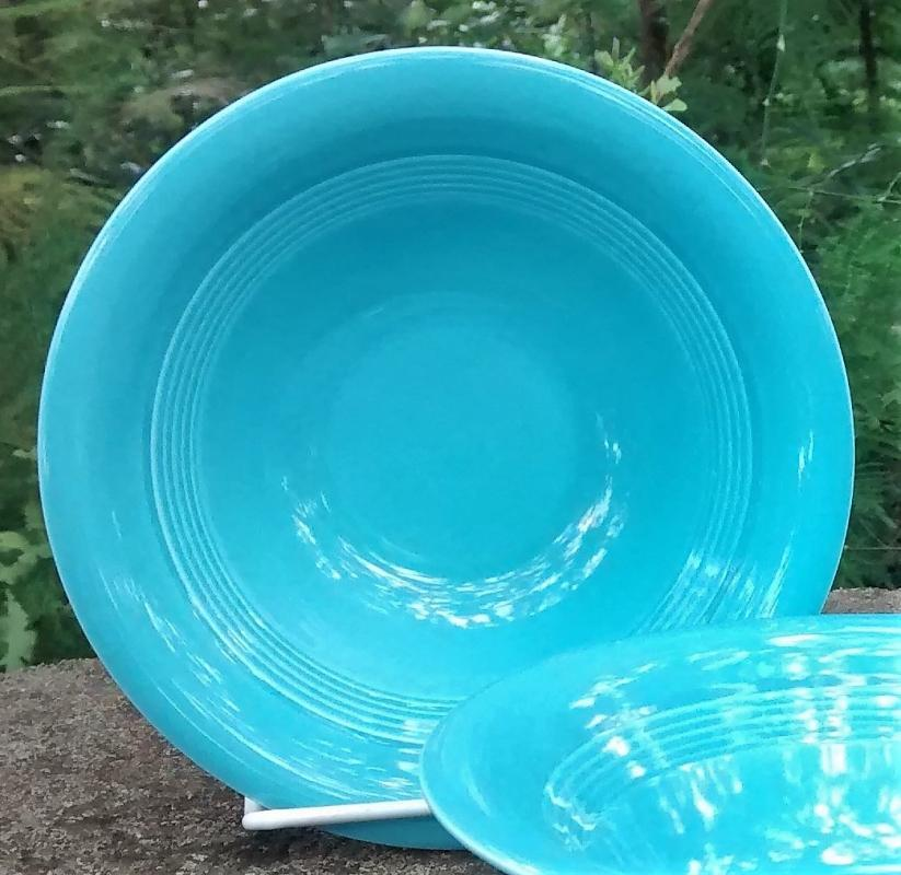Vintage Laughlin Harlequin 36s Oatmeal Bowl Original Turquoise