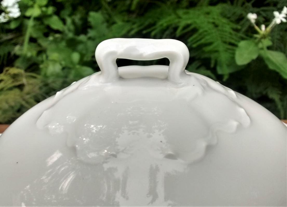 Antique Haviland Limoges Ranson Butter w/Cover White Twig Handle
