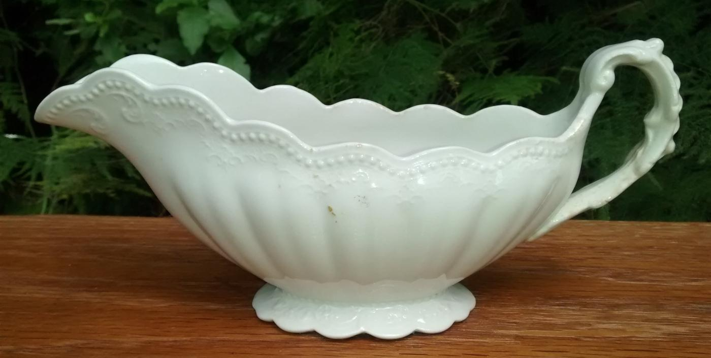 Antique Grindley Embossed White Gravy/Sauce Boat GR1493