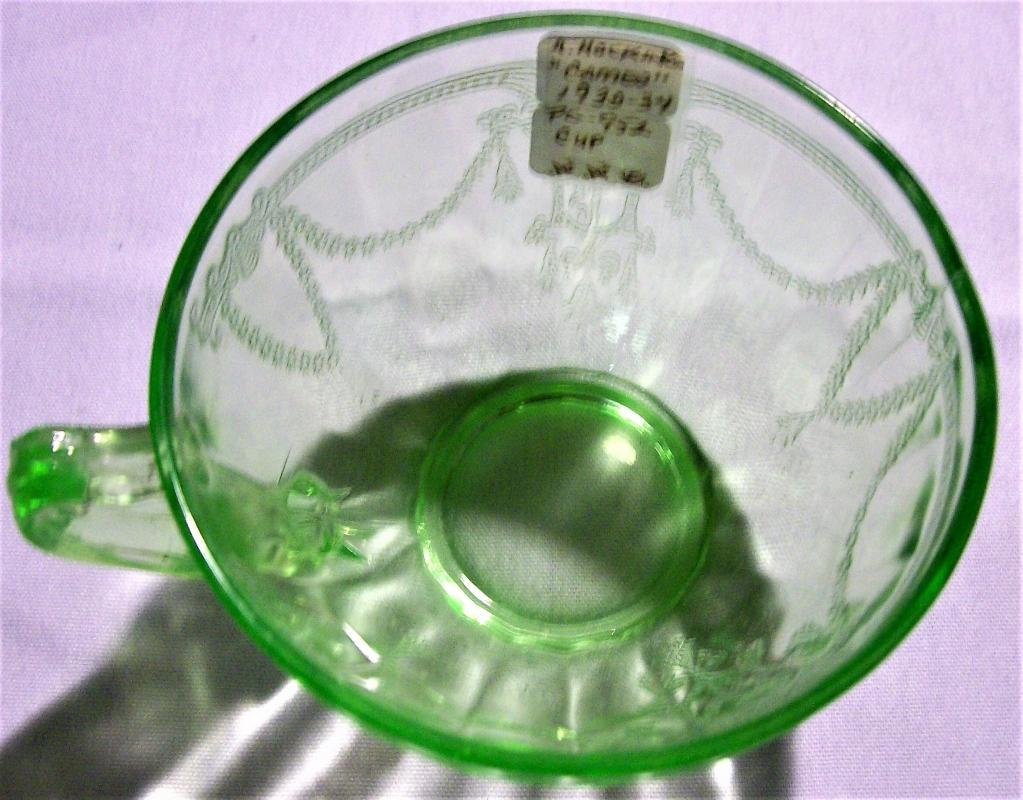 Hocking Cameo Cup Set/2 Green Scroll Handle 1930-34
