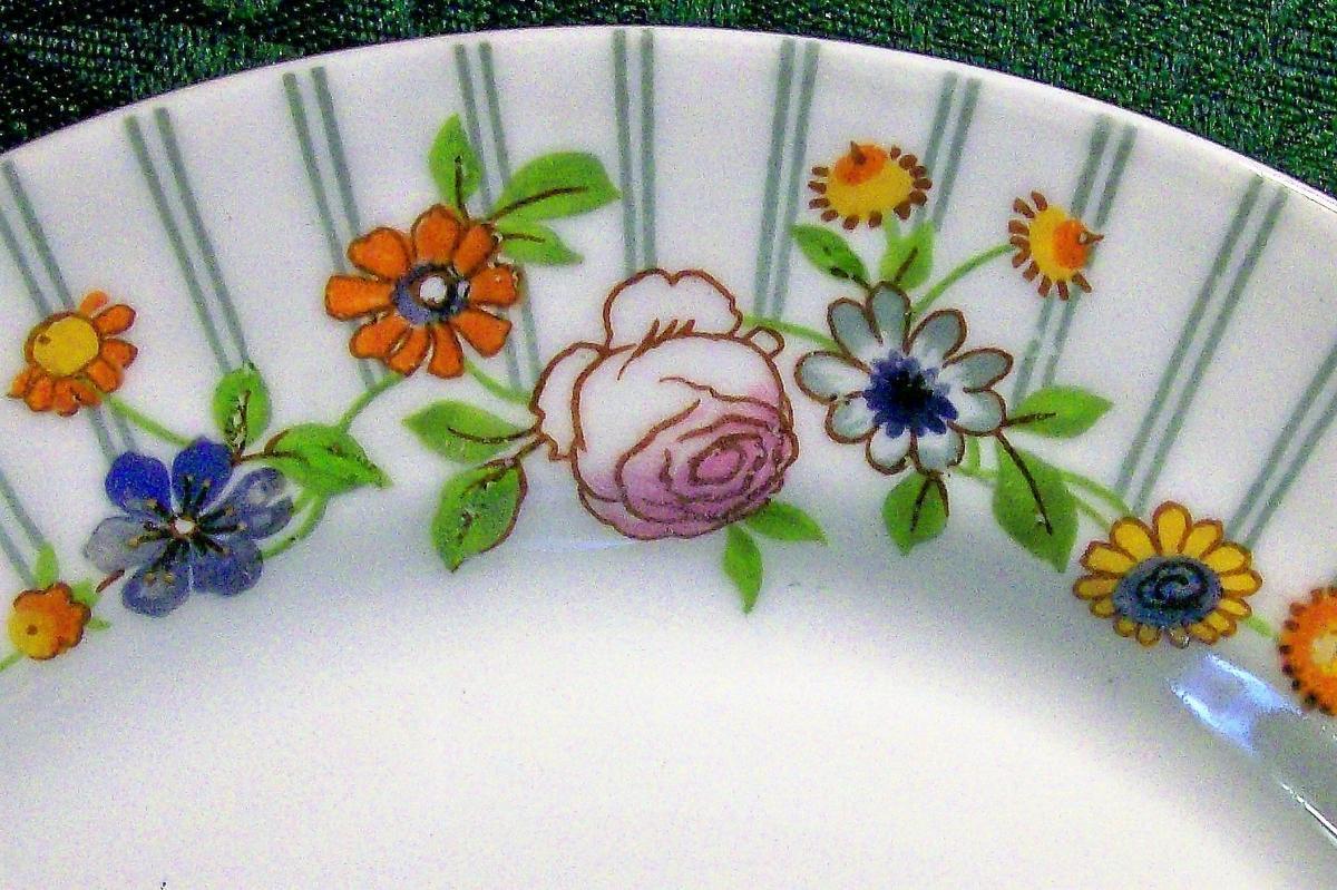 Vintage Pouyat Limoges Plate Stripes & Flowers Ca. 1930 Art Deco