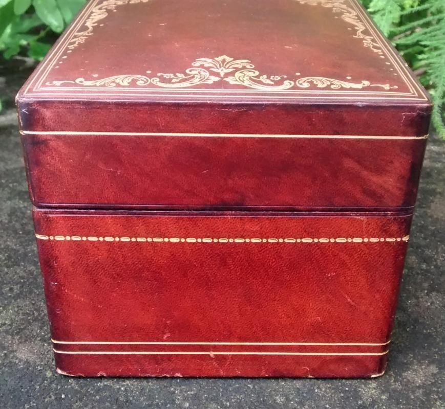 Vintage Italian Leather Playing Card Box Large 10-Slot 1930s-50s