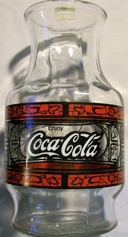 Vintage Coca-Cola/Godfather's Pizza Advertising Carafe Stained-Glass 1980s