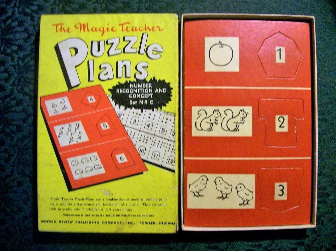 Vintage Magic Teacher Puzzle Plans Set NRC 1950