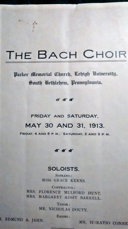 Antique Bach Choir Program Lehigh University 1913 Parker Memorial Church