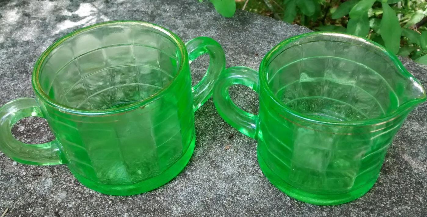 Vintage Hocking Block Optic Flat Cream/Sugar Green Depression 1929-33