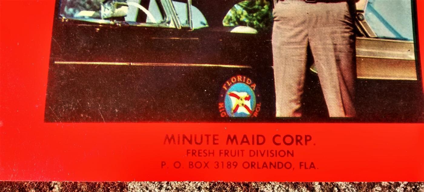 Vintage Florida Citrus Fruit Crate Label Trooper Minute Maid 1950s Original