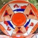Vintage Art Deco Nippon/Japan Saucer Set/3 Orange Luster/Red/Cobalt Geometric