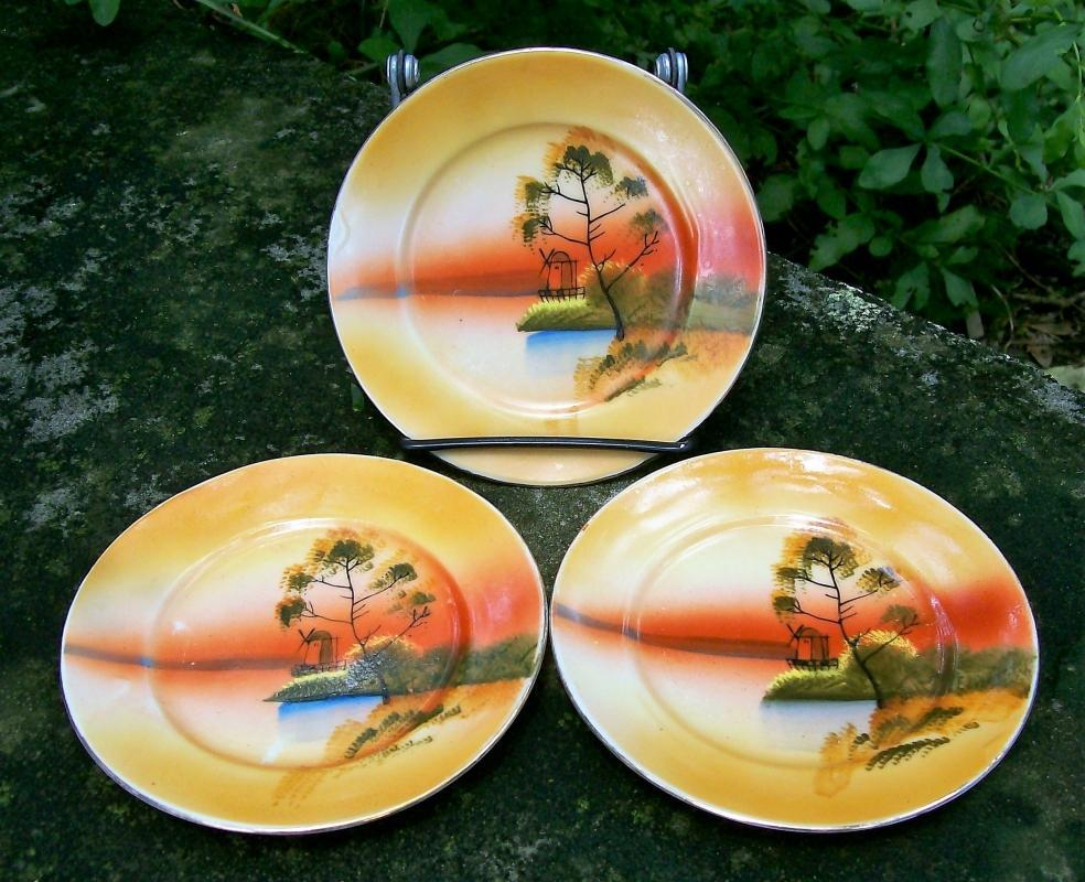 Vintage JAP908 Landscape Toy Plates for Child's Tea Set Orange 1930s Japan Set/3