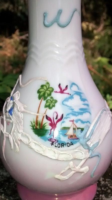 Vintage Florida Souvenir Dragonware Vase 1950s Japan Moriage