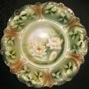 Antique Weimar German Bowl Art Nouveau Waterlily Flowers 11.25