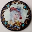 Antique Enameled Lady Portrait Button 1.25