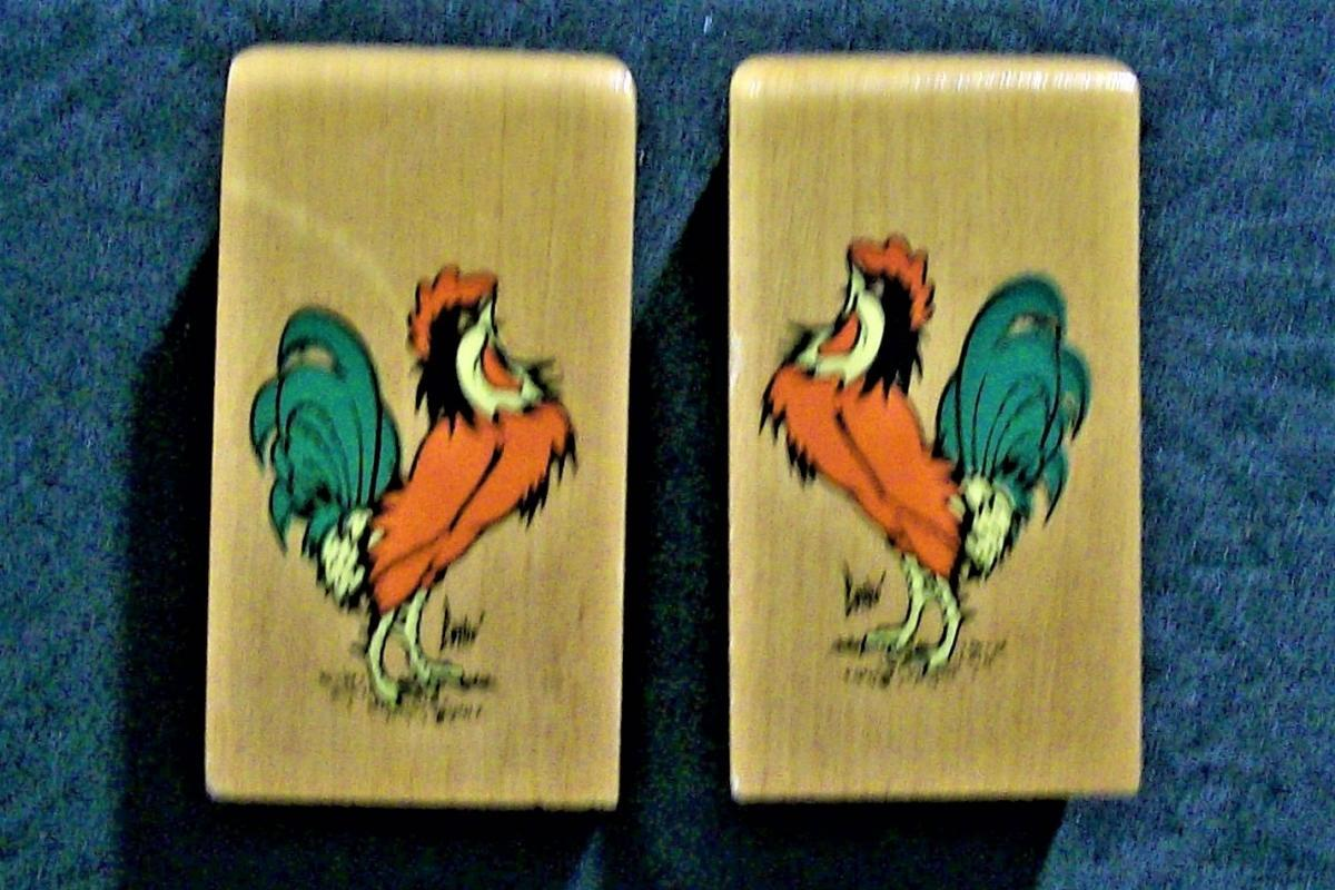 Vintage Rooster S&P Shakers Wood w/Decals 1950s