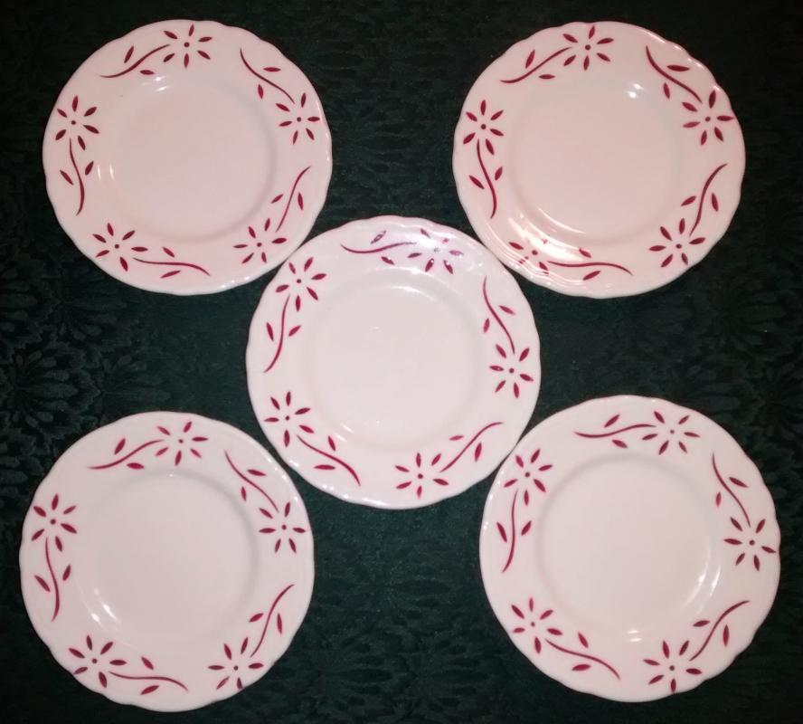 Vintage Sterling STR8 Red Flower Restaurant Plate Set/5 1969