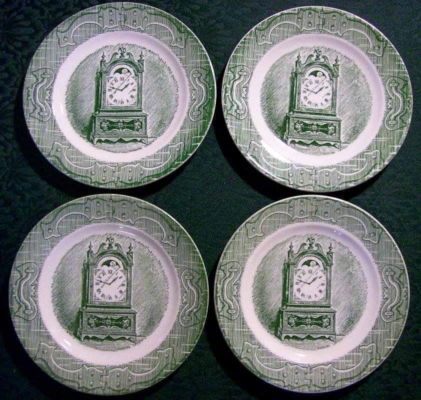 Vintage Old Curiosity Shop Plate Set/4 Royal Green 6.25