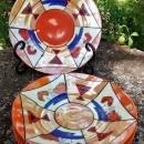 Vintage Art Deco Nippon/Japan Plate Set/5 Orange Luster/Red/Cobalt Geometric