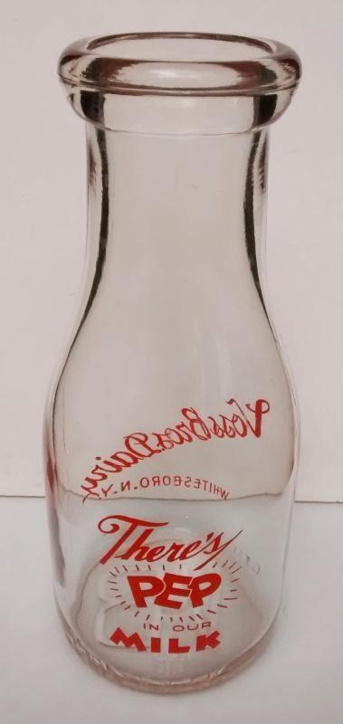 Vintage Voss Brothers Dairy/Milk Bottle Whitesboro NY Orange Pyro Pint 1940s