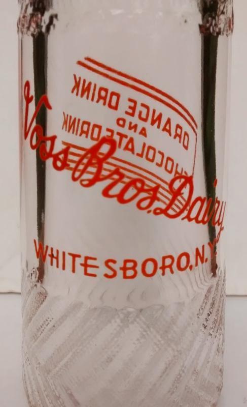 Vintage Voss Brothers Dairy Drink Bottle Whitesboro NY Orange Pyro Half Pint 1940s