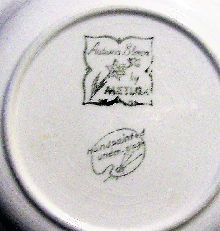 Vintage Metlox #110 Autumn Bloom/Delphinium Orange Soup Bowl 8.375
