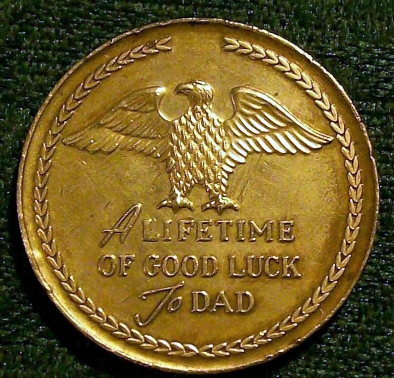 Vintage Hickok Father of the Year Good Luck Metal Token 1955 1.25