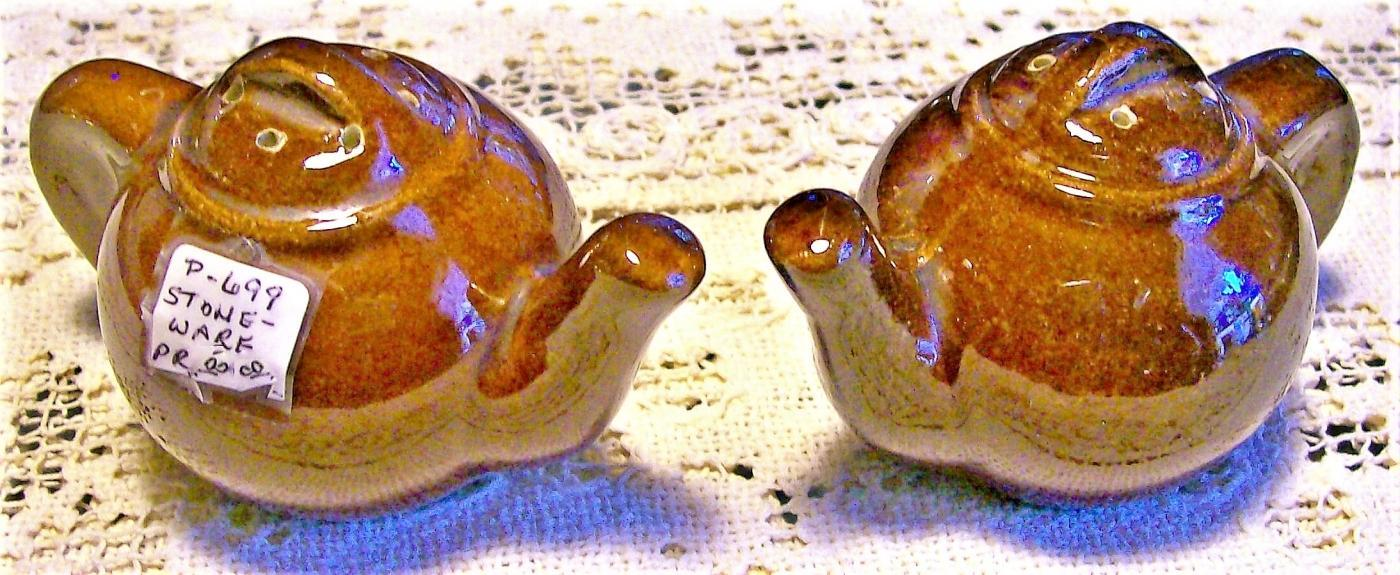 Vintage Teapot S&P Shakers Brown Stoneware