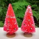 Vintage Christmas Bottle Brush Tree Pair Red w/Mercury Glass