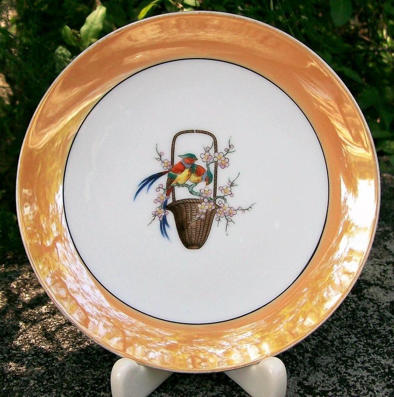 Vintage Noritake #N1143BL Plate Chinese Pheasant Birds Art Deco Orange Luster