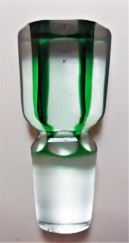 Antique Bohemian Green-Cut-to-Clear Stopper for Decanter Victorian Era
