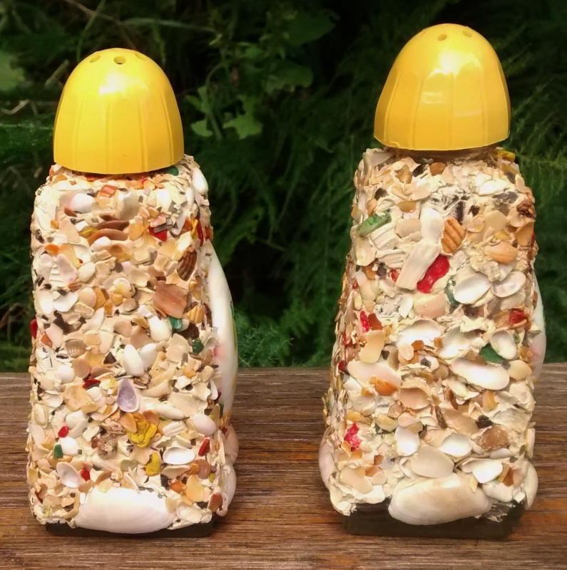 Vintage Florida Souvenir S&P Shakers Shell Encrusted Glass 1960's