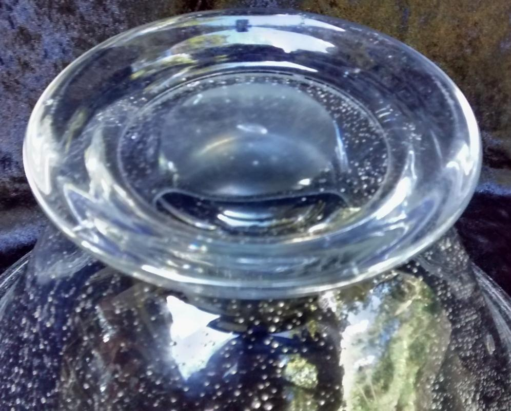 Vintage MCM Art Glass Bowl Seed Bubble Clear 1950s