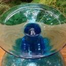 Vintage MCM Empoli Vase Peacock Blue Diamond Optic