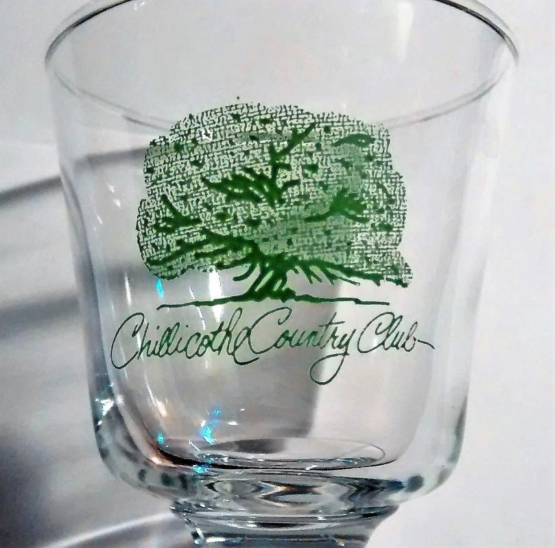 Vintage Chillicothe Country Club Footed Tumbler Bar Glass Missouri Golf Course 4.25