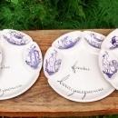 Vintage Fondue Bourguignonne Plate Set/6 Ch.M.R. Decor Main (Hand-Painted)