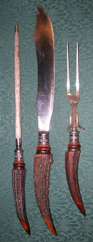 Antique Staghorn & Sterling Carving Set 3-Pc. Meriden Cutlery 1890s