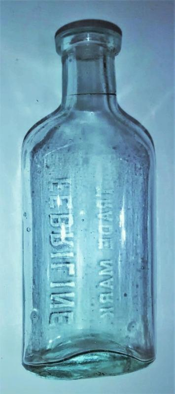 Antique Febriline Gargling Liniment Bottle Ca. 1890s Advertising Embossed Aqua Glass