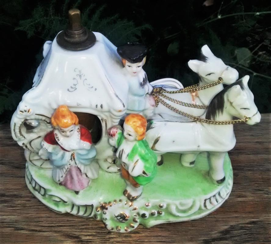 Vintage Schor Parcraft Horse Carriage Lamp/ Night Light 1950s