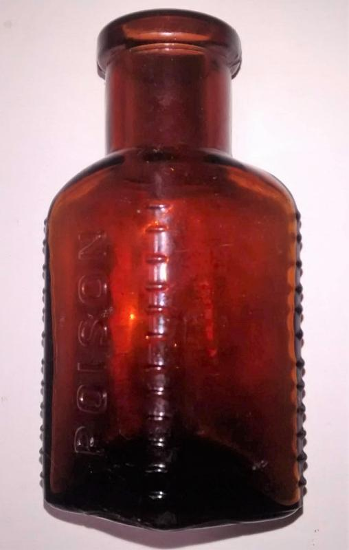 Antique Triangular Poison Bottle Embossed Ca. 1900 Dk Amber Glass 3.625