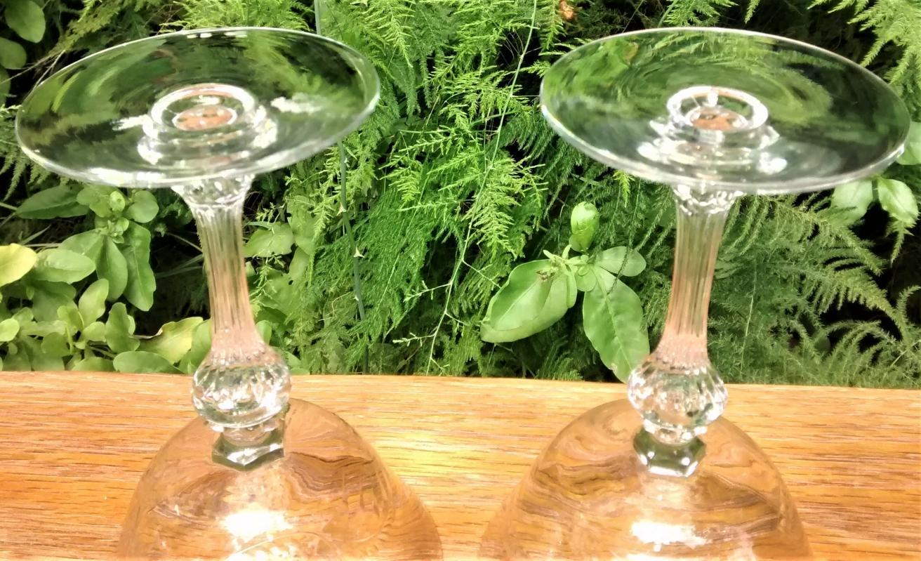 Vintage Tiffin Kingsley #17392 Champagne/Tall Sherbet Pair Clear Cut