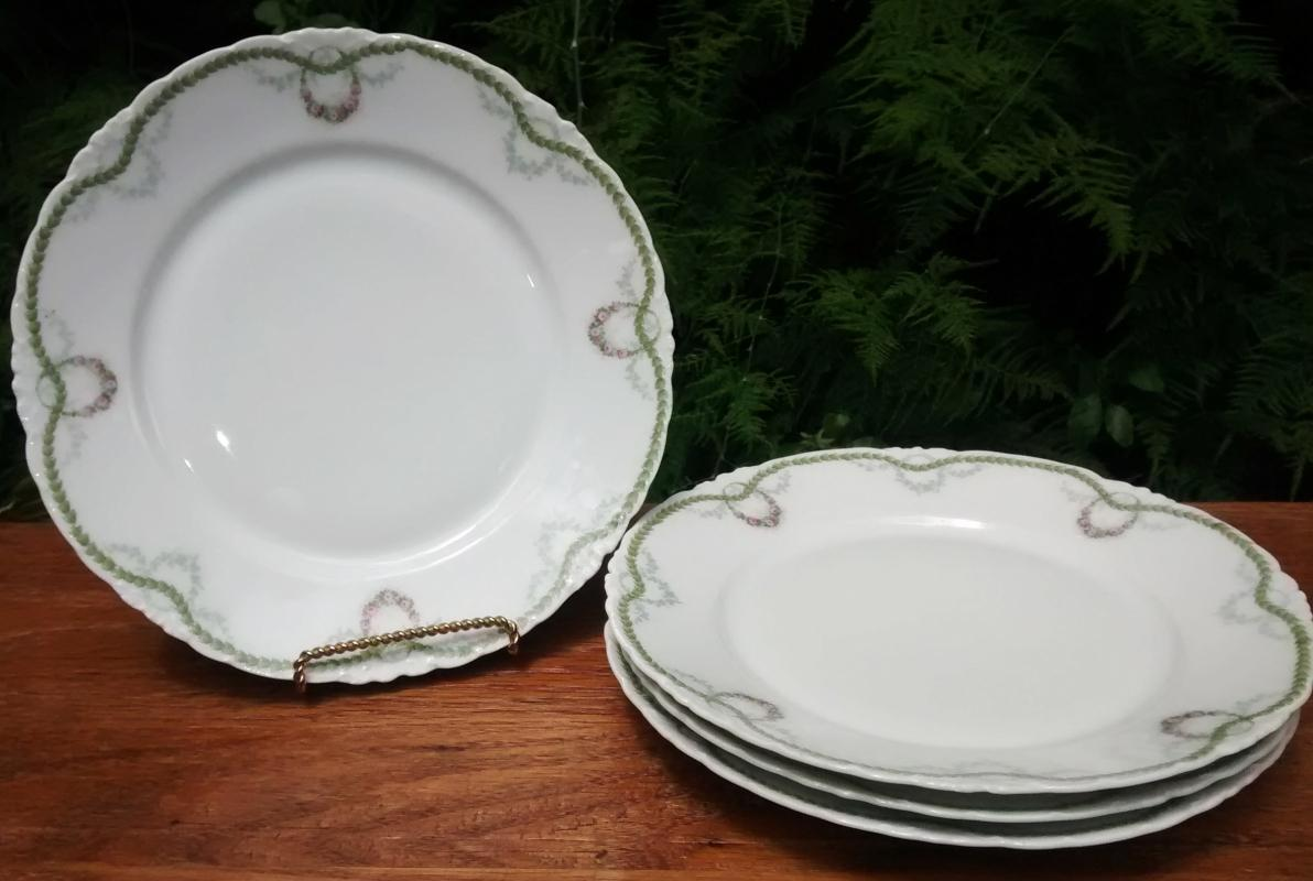 Antique Rosenthal R1344 Versailles Plate Set/4 Pink Rose Swags 8.75
