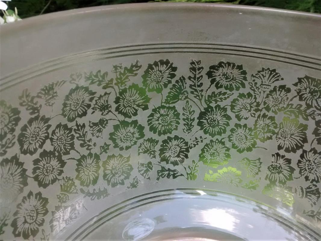 Antique Etched Glass Lamp/Light Shade Field of Flowers 5