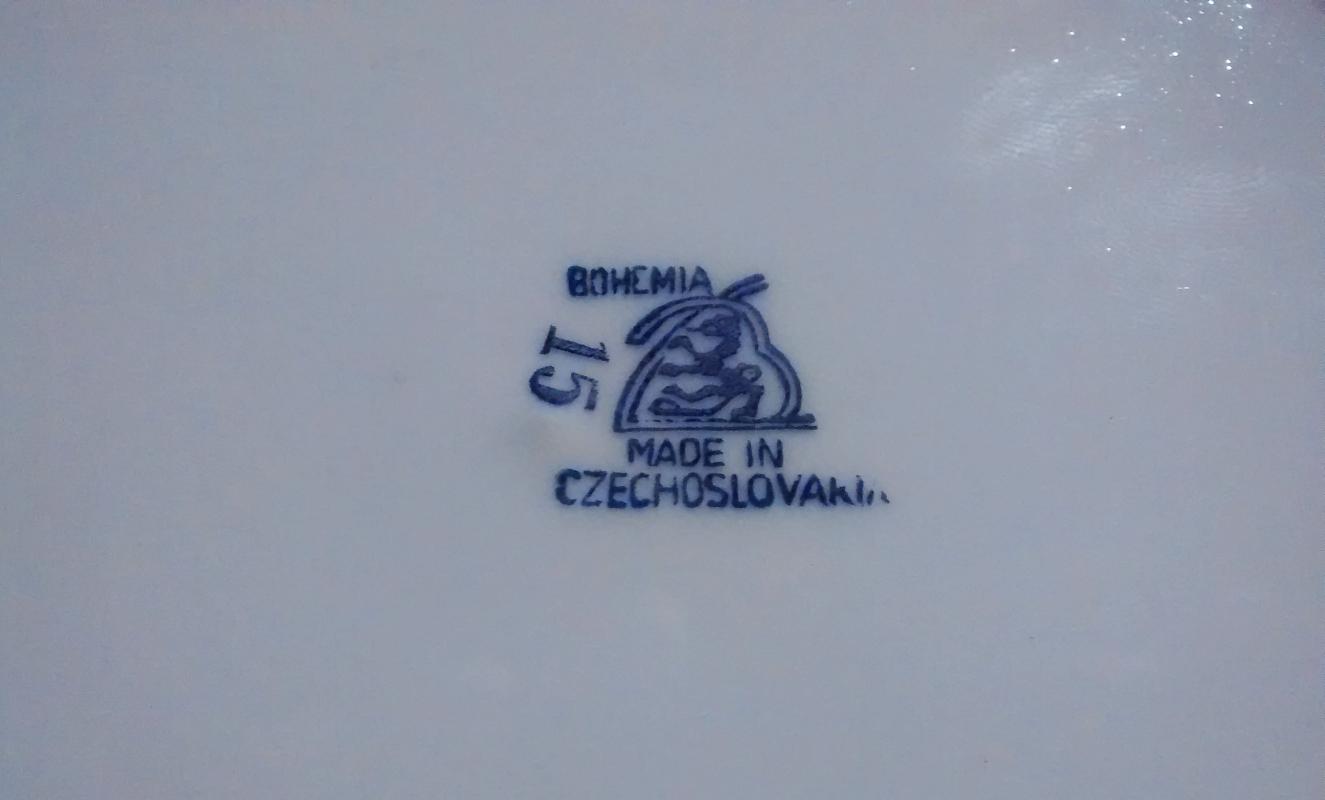 Vintage Bohemia Czechoslovakia Bowl Harbor Scene Brown Transfer 1921-41