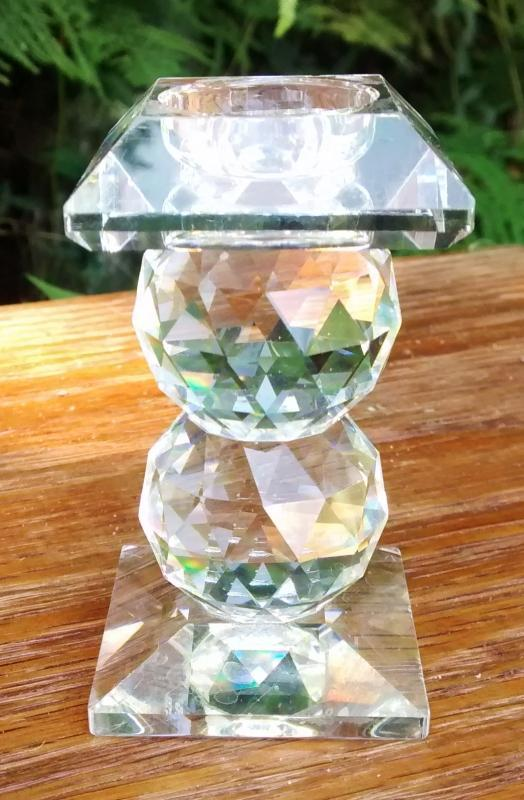 Vintage Swarovski Crystal #110 Candlestick Holder 2-Ball Signed