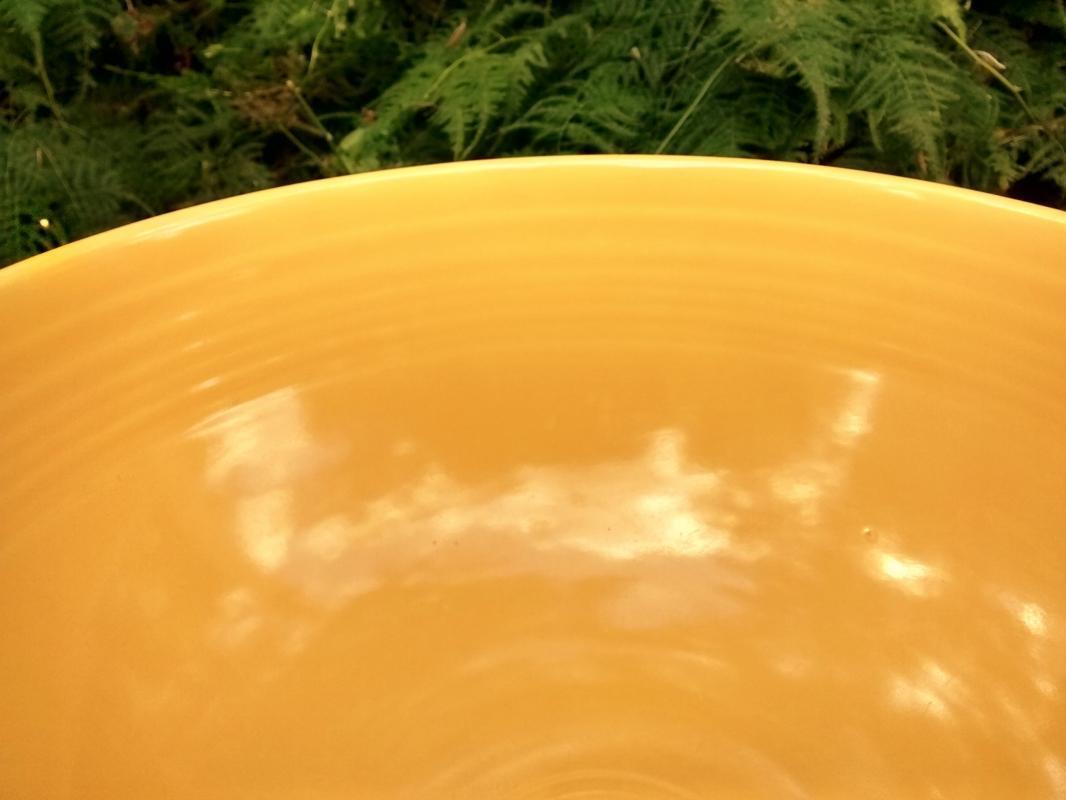 Vintage Laughlin Fiesta Footed Salad Bowl Original Yellow 1936-46