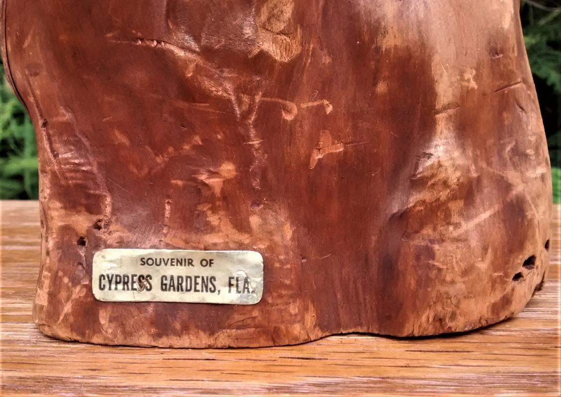 Vintage Cypress Gardens Souvenir Knee w/Label Winter Haven Florida