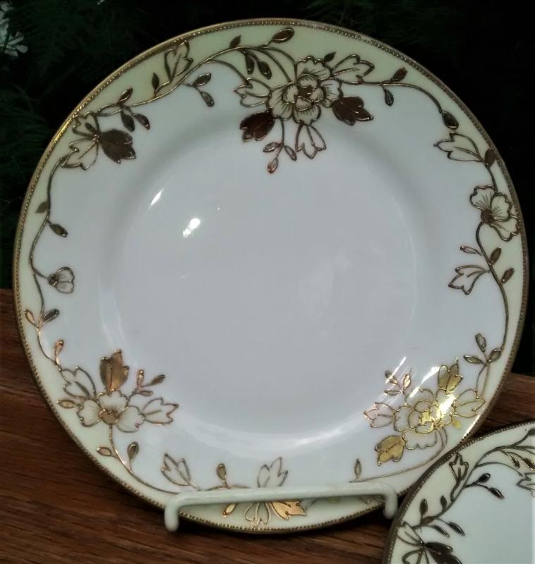 Antique Noritake Nippon N312 Plate Set/4 Gold Encrusted