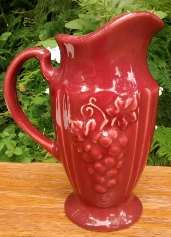Vintage Royal Haeger Grape Pitcher Burgundy Red 9.25