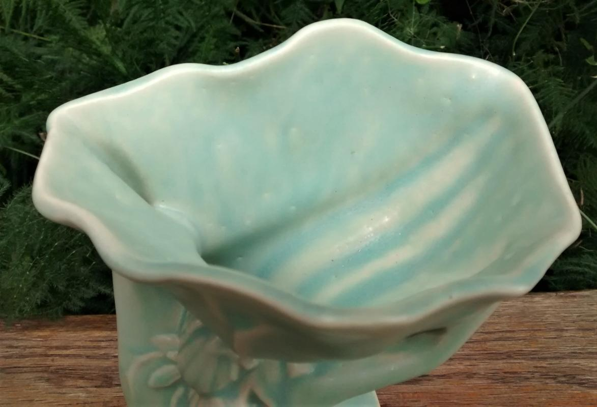 Vintage McCoy Hand with Shell Vase Aqua 7.5