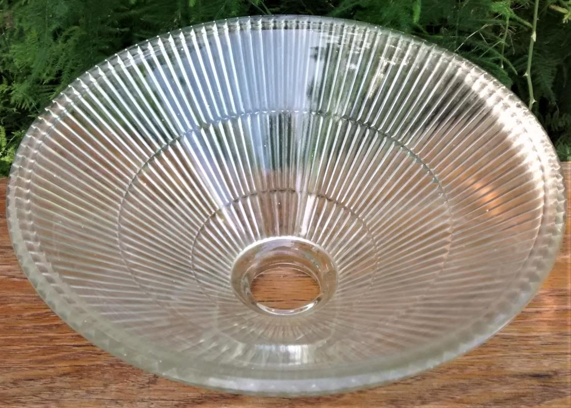 Vintage Holophane-Style Lamp Shade Clear Prismatic Glass 2.25
